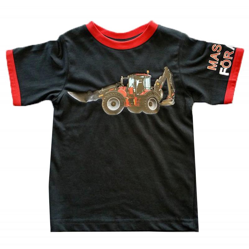 T-shirt med rödtraktorgrävaremotiv