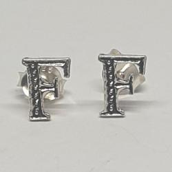 Bokstav F örhängen i silver