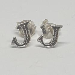 Bokstav J örhängen i silver