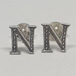 Bokstav N örhängen i silver