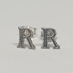 Bokstav R örhängen i silver