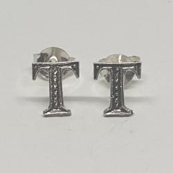 Bokstav T örhängen i silver